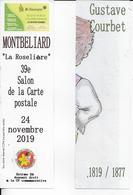 3 Marque-Pages  Gustave COURBET  - Montbéliard  39e Salon De La Carte Postale  2019 - Segnalibri