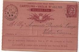 ITALIE 1893        ENTIER POSTAL/INTERI POSTALE /POSTAL STATIONERY CARTE DE CASERTA - Ganzsachen