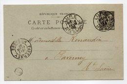 - CARTE POSTALE LURE Pour FAVERNEY (Haute-Saône) 16 FEVR 1898 - Boite Rurale - 10 C. Noir Sur Vert Type Sage - - Entiers Postaux