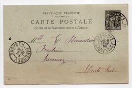 - BOITE RURALE MEURCOURT Via BREUCHES Pour FAVERNEY (Haute-Saône) 15 FEVR 1898 - - Entiers Postaux