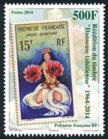 POLYNESIE 2014 - Yv. 1077 **   Faciale= 4,20 EUR - Timbre Sur Timbre. Danseuse Tahitienne  ..Réf.POL24975 - Polynésie Française