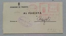 """Comune Di Trento Per Podestà Di Ragoli - Timbro Rosso Con Data 08/09/1943 """"armistizio"""" - Marcofilía"""