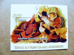 M/s Mnh Congo 2005 Animals Birds Oiseaux John James Audubon - Perroquets & Tropicaux
