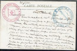 """Fr - Croix Rouge Française -Infirmerie De Gare -La Roche Sur Yon - CPA """"Eglise St Louis"""" Cachet Régiment Train Sanitaire - Marcophilie (Lettres)"""