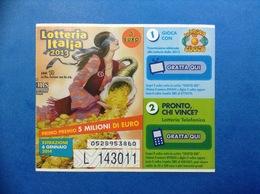 2013 BIGLIETTO LOTTERIA NAZIONALE ITALIA ESTRAZIONE 2014 ANNI 70 LA PROVA DEL CUOCO - Biglietti Della Lotteria