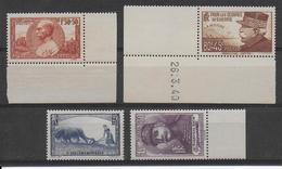 1940 - YVERT N° 454/457 ** MNH SANS CHARNIERE BDF - COTE = 52 EUR. - - France