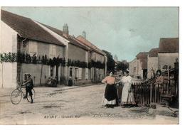 RIGNY GRANDE RUE CARTE COULEUR ANIMEE - Francia