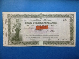 REPUBBLICA ITALIANA BUONO POSTALE FRUTTIFERO LIRE DUECENTOCINQUANTAMILA 250.000 ANNO 1981 CASERTA CAPRIATI AL VOLTURNO - Banco & Caja De Ahorros