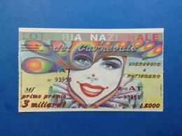1992 BIGLIETTO LOTTERIA NAZIONALE DEL CARNEVALE DI VIAREGGIO E PUTIGNANO MASCHERE FARINELLA BURLAMACCO - Biglietti Della Lotteria