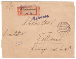Estonia,Estland,Provisional Cancellation Rakvere  On R-cover 1918,3 Scans - Estonie