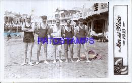 124969 ARGENTINA MAR DEL PLATA BEACH PLAYA COSTUMES MAN'S YEAR 1933 REAL PHOTO POSTAL POSTCARD - Argentina