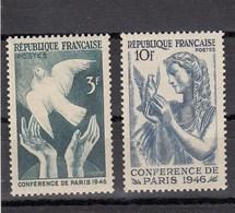 France - 1946 - N° YT 761/62** - Conférence De La Paix à Paris - Francia
