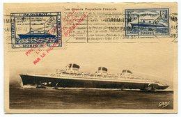 RC 14657 FRANCE 1935 PAQUEBOT NORMANDIE VOYAGE INAUGURAL SUR CARTE MAXIMUM + CERTIFICAT - 1930-39