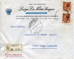 Italia (1969) - 90 Lire Siracusana In Coppia Su Raccomandata Da Seregno - 1946-.. République