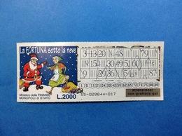 BIGLIETTO GRATTA E VINCI USATO L. 2000 LA FORTUNA SOTTO LA NEVE - Biglietti Della Lotteria
