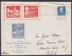 1935. Hans Christian Andersen. 30 Øre TO Usa SNAPIND 4.7.38. X. FILATELISTDAG SLAGELS... (Michel 227) - JF304942 - 1913-47 (Christian X)