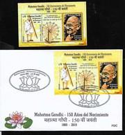 AA-49 URUGUAY 2019 INDE INDIA GANDHI 150° ANIV SOUVENIR SHEET BLOC MNH +FDC,NEUF+PREMIER JOUR,POSTFRISCH+ERSTAGBRIEF - Mahatma Gandhi