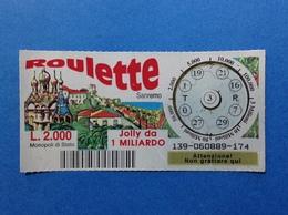 BIGLIETTO LOTTERIA GRATTA E VINCI USATO L. 2000 ROULETTE SANREMO - Biglietti Della Lotteria