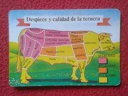 SPAIN CALENDARIO DE BOLSILLO CALENDAR 1992 DESPIECE Y CALIDAD LA TERNERA VACA PARTES VACHE PIÈCES COW PARTS VACCA BEEF.. - Calendarios