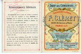 DEPLIANT PUBLICITAIRE DEBUT 20è SIECLE CONSERVES SALAISONS EN GROS F. CLERET PARIS Cachet Représentant à Bordeaux - Publicidad