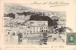 (RARE) CPA  Espagne Gran Canaria Vista De Las Palmas Y Calle Di Muros  (animée)(précurseur)  CC 777 - Gran Canaria