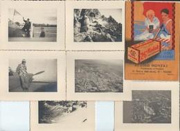 Lot 6 Photos Avion Aviateur Vues Aériennes Et Divers Sous Poche Kodak Studio Montaz à Modane   Vers 1938 - Uniformes