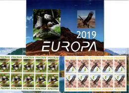 Georgia / Abkhazia . EUROPA 2019. National Birds. (Arms,Flag) .Booklet  2 M/S Of 10 - Georgia