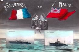 Souvenirs De MALTA - Militaria - Navires De Guerre Condorcet Et M S Chatham - 1915 - Malte