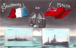 Souvenirs De MALTA - Militaria - Navires De Guerre Mirabeau Et H M S Imdomptable - 1910 - Malte