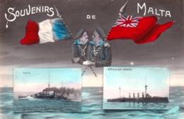 Souvenirs De MALTA - Militaria - Navires De Guerre Paris Et H M S Black Prince - 1910 - Malte