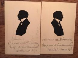 """2 CPA, Silhouettes ( 2 Faces), Texte Manuscrit; """"Souvenir De Nuremberg, Professeur De Lindenmères, Wilhelmstrasse 27 ?"""" - Scherenschnitt - Silhouette"""