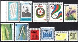 Azerbaïdjan Azerbaycan 0537A/K Surchargés Nouvelles Valeurs - Azerbaïdjan