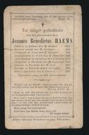 PASTOOR ASSENEDE - JOANNES HAEMS - LEBBEKE 1818 - ASSENEDE 1892 - Décès