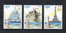 Cambogia - 1990 - Tematica Giochi - SCACCHI - 3 Valori - Usati - (FDC18621) - Cambogia