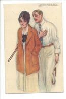 22859 -  Tennis Couple  Signé Mauzan Cachet Basel 1922 - Mauzan, L.A.