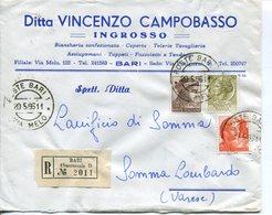 Italia (1966) -  Mista Siracusana/Michelangiolesca Su Raccomandata Doppio Porto Da Bari - 6. 1946-.. Repubblica