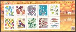 (ja1343) Japan 2019 Gifts From Forest No.3 63y MNH Mushroom Ladybug Raccoon Dog Fish - 1989-... Kaiser Akihito (Heisei Era)