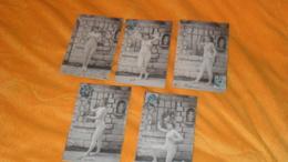 LOT DE 5 CARTES POSTALES ANCIENNES CIRCULEES DE 1904.../ SCENE FEMME EN PRISON..LA PRISONNIERE ?..CACHET + TIMBRE - Femmes