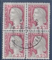 =  Marianne De Décaris 25c Bloc De  4 Oblitérés N°1263, On Notera Le Carmin Décalé Vers Le Bas - 1960 Marianne De Decaris