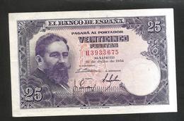 ESPANA / SPAIN / SPAGNA - El BANCO De ESPANA - 25 Pesetas (1954) Isaac Albeniz - 25 Peseten