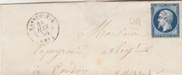 Yvert 14 Devant De Lettre Sans Correspondance LANNEMEZAN Hautes Pyrénées PC 1641 Cachet OR Origine Rurale à Condom Gers - Poststempel (Briefe)
