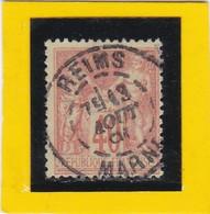 SAGE N° 94 F Orange Vif Sur Jne Vif    - CACHET A DATE  - REIMS  / MARNE  - 13 AOUT 1891 -    - REF 1602 - Bon Centrage - 1876-1898 Sage (Type II)