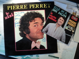 PIERRE PERRET. LOT D UN 33 TOURS DEDICACE ET D UN 45 TOURS 4 TITRES. 1966 / 1974 DEDICACE SUR LE 33 REALISEE AU MARQUEU - Vinyles