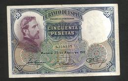 ESPANA / SPAIN / SPAGNA - El BANCO De ESPANA - 50 Pesetas (1931) - [ 2] 1931-1936 : Repubblica