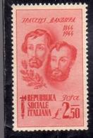 ITALIA REGNO ITALY KINGDOM 1944 REPUBBLICA SOCIALE RSI FRATELLI BANDIERA LIRE 2,50 MNH - Nuovi