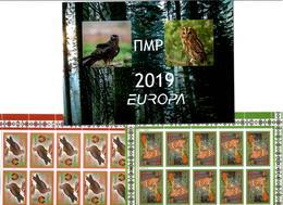 Moldova / PMR Transnistria . EUROPA 2019. National Birds. (Arms,Flag) . Booklet. 2 M/S Of 10 - Moldavia
