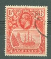 Ascension: 1924/33   KGV - Badge Of St Helena    SG12    1½d  Used - Ascension