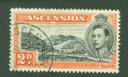 Ascension: 1938/53   KGVI    SG41    2d   Black & Red-orange  [Perf: 13½]  Used - Ascension