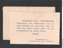 Toulouse (31 Haute Garonne)  Faire Part De Naissance ANNE DOMERGUE 1946 (PPP21174) - Geburt & Taufe