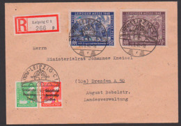 Leipzig R-Brief  Portogenau SBZ 198/99 Zusatzfrank. SoSt. 1.9.49, Rs. Eingangsstempel Dresden A50 - Zona Soviética